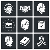 Minsk agreement Vector Icons Set. Political agreements Icon flat collection isolated on a black background Stock Images
