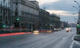 Minsk, Beladus - September 25, 2016 De Weg van de onafhankelijkheid in Minsk Één van de centrale straten van de stad Royalty-vrije Stock Afbeeldingen
