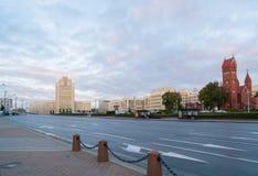 Minsk Beladus - September 25, 2016 självständighetminsk fyrkant Central fyrkant av staden Royaltyfria Foton