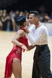 MINSK-BELARUS, 5月, 18日:未认出的舞蹈夫妇执行成人 免版税库存图片