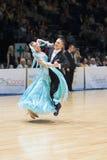 MINSK-BELARUS, 5月, 19日:未认出的舞蹈夫妇执行成人 免版税库存图片