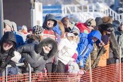 MINSK-BELARUS, 1月, 27,2013 :在ZAVIRUHA-2013拉雪橇狗的人群 免版税图库摄影