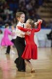 MINSK-BELARUS, 11月, 24日: 未认出的舞蹈夫妇执行 免版税库存照片