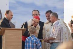 MINSK-BELARUS, 21-ОЕ ИЮНЯ: Римский кардинальный Tarcisio Bertone раскрывает n Стоковое фото RF
