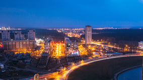 Minsk, Belarus. Aerial Cityscape In Bright Blue Hour Evening And Yellow Illumination Spring Twilight. Stock Image