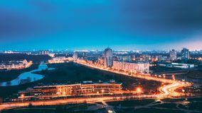 Minsk, Belarus. Aerial Cityscape In Bright Blue Hour Evening And Yellow Illumination Spring Twilight. Minsk, Belarus. Panoramic Aerial View Cityscape In Bright stock photography