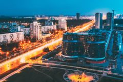 Minsk, Belarus. Aerial Cityscape In Bright Blue Hour Evening And Yellow Illumination Spring Twilight. Minsk, Belarus. Aerial View Cityscape In Bright Blue Hour stock photo