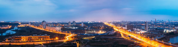 Minsk, Belarus. Aerial View Cityscape In Bright Blue Hour Evening And Yellow Illumination Spring Twilight. Royalty Free Stock Photos