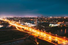 Minsk, Belarus. Aerial View Cityscape In Bright Blue Hour Evening And Yellow Illumination Spring Twilight. Night View Of. Independence Avenue royalty free stock photo