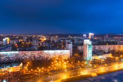 Minsk, Belarus. Aerial View Cityscape In Bright Blue Hour Evening Stock Photo