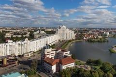 MINSK, BELARUS - 15 AOÛT 2016 : Vue aérienne de la partie du sud de Minsk Image stock