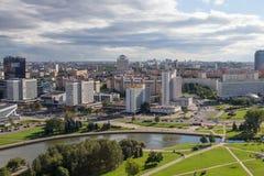 MINSK, BELARUS - 15 AOÛT 2016 : Vue aérienne de la partie du sud-ouest de Minsk Photographie stock libre de droits