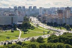 MINSK, BELARUS - 15 AOÛT 2016 : Vue aérienne de la partie occidentale de Minsk Photographie stock libre de droits