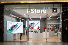 Minsk, Belarus, April 20, 2018: Apple store `i-Store` located in a shopping center `Gallery`, Minsk, Belarus. Apple Inc sells comp stock image