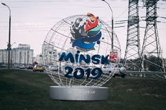 Minsk Belarus - April 21, 2019: chanterelle-mascot of the 2nd European Games on the street of Minsk stock photos