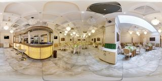 MINSK, BELARUS - APRIL 7, 2013: Full 360 degree panorama in equirectangular spherical projection of stylish cafe in white color royalty free stock image