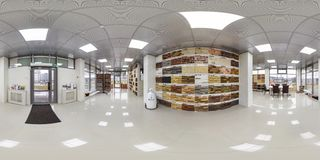 MINSK, BELARUS - APRIL, 2017: full seamless panorama 360 degrees angle view in interior elite luxury store of ceramic tile and stock image
