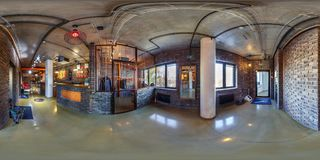 MINSK, BELARUS - APRIL,2017: full seamless panorama 360 degrees angle view in interior locker room and reception in office of stock photography