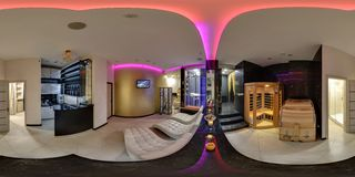 MINSK, BELARUS - APRIL, 2016:  full seamless spherical cubic panorama 360 degrees angle view interior of modern spa beauty saloon stock photography