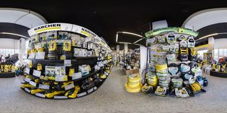 MINSK, BELARUS - APRIL, 2017: full seamless spherical panorama 360 angle degrees view in interior luxury vacuum cleaner store royalty free stock photo