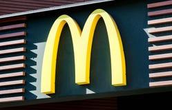 MINSK, BELARUS - April 20, 2018: McDonald`s logo. McDonald`s is the world`s largest chain of hamburger fast food restaurants stock image