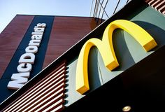 Minsk, Belarus - April 6, 2019: McDonald`s logo. McDonald`s is the world`s largest chain of hamburger fast food restaurants