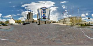 MINSK, BELARUS - APRIL 18, 2016: Panorama of exterior facade of casino and hotel on a sunny day. Full spherical 360 by 180 stock photography