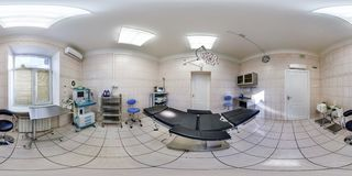 MINSK, BELARUS - APRIL 27, 2016: Panorama in interior operating room in the medical center. Full spherical 360 by 180 degrees royalty free stock photography