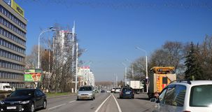 Minsk, Belarus. Traffic At Pobediteley Avenue. In Sunny Spring Day. Minsk, Belarus - April 4, 2017: Traffic At Pobediteley Avenue. In Sunny Spring Day stock video footage