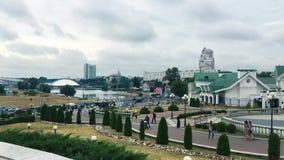Minsk, Belarus Architettura di Pan Cityscape View Of Modern di Minsk, in Nemiga, distretto di Nyamiha Posto famoso stock footage