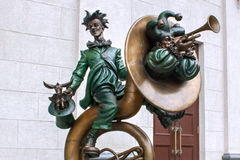 MINSK, BELARUS - AUGUST 04, 2012: City bronze sculpture of clowns with music instruments near the Belarusian state circus. stock image