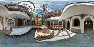 MINSK, BELARUS - AUGUST 1, 2012: Full 360 degree panorama in equirectangular spherical projection in interior stylish restaurant stock photography