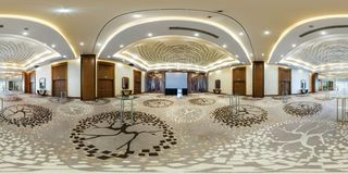 MINSK, BELARUS - AUGUST, 2017: full panorama 360 angle view seamless inside interior of large banquet hall in modern hotel in royalty free stock image
