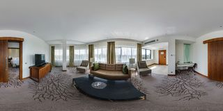 MINSK, BELARUS - AUGUST, 2017: full seamless 360 degrees angle view panorama in interior guestroom hall with furniture in modern stock images
