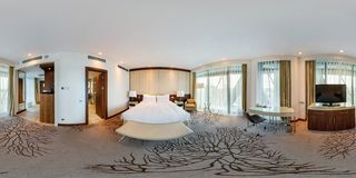 MINSK, BELARUS - AUGUST, 2017: full seamless spherical 360 degrees angle view panorama view in bedroom loft room in luxury elite royalty free stock images