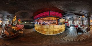 MINSK, BELARUS - AUGUST, 2018: full seamless spherical hdri panorama 360 degrees angle view in modern nightclub pub restaurant. With dark loft design style in royalty free stock image