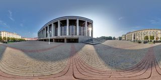 MINSK, BELARUS - AUGUST, 2016:  full seamless spherical panorama 360 degrees angle view  on central square left palace of republic. 360 panorama in royalty free stock image