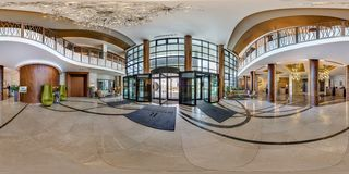 MINSK, BELARUS - AUGUST , 2017: Full spherical 360 degrees angle view seamless panorama in guestroom hall reception of modern royalty free stock photos