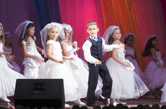 MINSK, BELARUS - AUGUST 31: ?hildren from dance studio Splash at the joint concert on August 31, 2014 in Minsk, Belarus Stock Image