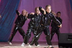 MINSK, BELARUS - AUGUST 31: ?hildren from dance studio Splash at the joint concert on August 31, 2014 in Minsk, Belarus Royalty Free Stock Images