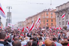 Minsk, Belarus, August 23, 2020: Mass protests against torture and results of president elections. Crowd of people on meeting with