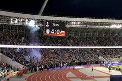 MINSK, BELARUS - AUGUST 9, 2018: UEFA Europa League third qualifying round match between FC Dynamo Minsk and FC Zenit Saint-. Petersburg at the FC Minsk Stadium stock image