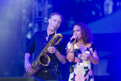 Vocalist and Singer Pat Appleton and Marcus Bartelt of World Renowned Jazz Ensemble De-Phazz Performing at A-Fest Stock Image