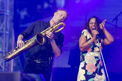 Vocalist and Singer Pat Appleton and Marcus Bartelt of World Renowned Jazz Ensemble De-Phazz Performing at A-Fest Royalty Free Stock Photography