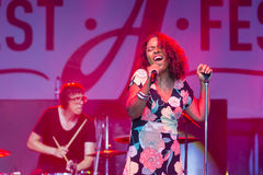 Vocalist and Singer Pat Appleton of World Renowned Jazz Ensemble De-Phazz Performing at A-Fest Music Festival Stock Images