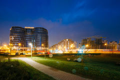 Minsk, Belarus. Building Dana Mall In Evening Or Night Illumination. Minsk, Belarus - April 6, 2016:  Building Dana Mall In Evening Or Night Illumination Stock Photography