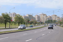 Minsk , Belarus. Central Avenue - Stock Photos Royalty Free Stock Photo