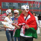 Minsk Belarus : Championnat 2014 du monde de hockey sur glace Photos libres de droits