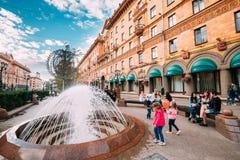 Minsk, Belarus. Children Play Near A Fountain. People Resting Walking On Lenin Street Stock Photography