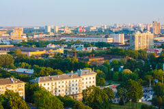 Minsk (Belarus) City Quarter With Green Parks Under Blue Sky Stock Photo